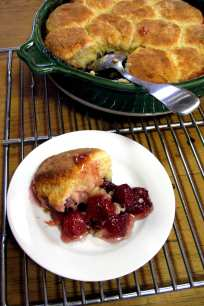 Cherry Mint Cobbler Almond Biscuit Crust