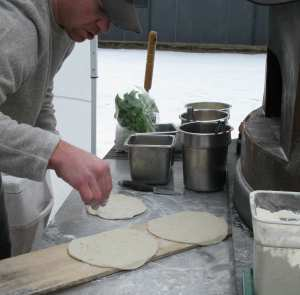 Todd Solek makes flatbread pizza